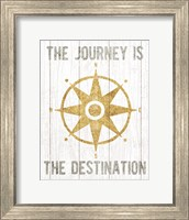 Framed Beachscape IV Compass Quote Gold Neutral