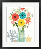 Seaside Bouquet III Mason Jar Framed Print