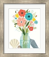 Framed Seaside Bouquet II Mason Jar