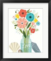 Seaside Bouquet II Mason Jar Framed Print