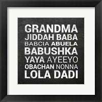 Framed Grandma Various languages - Chalkboard