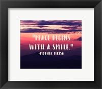 Framed Peace Begins With a Smile - Mother Teresa Quote
