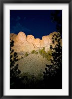 Framed Mount Rushmore National Memorial Lit Up, South Dakota