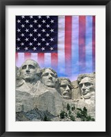 Framed American flag and Mt Rushmore