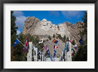 Framed Mount Rushmore National Memorial, Avenue of Flags, South Dakota