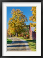 Framed Road beside Classic Farm in Autumn, New Hampshire