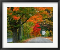 Framed New Hampshire, Andover Autumn color, England home