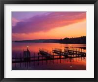 Framed New Hampshire Dock and Lake Winnipesaukee