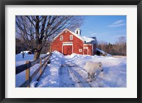 Framed Pony and Barn near the Lamprey River in Winter, New Hampshire