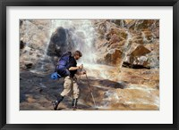 Framed Hiking at the Base of Arethusa Falls, New Hampshire