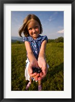 Framed Child, blueberries, Alton, New Hampshire