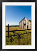 Framed Mountain bike and barn on Birch Hill, New Durham, New Hampshire