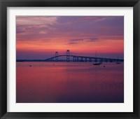 Framed Newport Bridge at sunset, Newport, Rhode Island