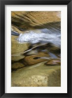 Framed New Hampshire Abstract design formed by rock and rushing water of the Swift River, White Mountain NF