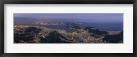 Framed Aerial view of city from Christ the Redeemer, Corcovado, Rio de Janeiro, Brazil