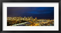 Framed Downtown Honolulu Lit-Up at Night, Oahu, Hawaii