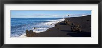 Framed Elevated View of Beach, Keawaiki Bay, Black Sand Beach, Kohala, Big Island, Hawaii