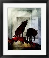 Framed Pair Of Wolves