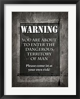 Framed Welcome To Man Cave Warning
