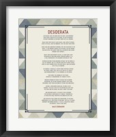 Framed Desiderata Triangle Pattern Frame Blue