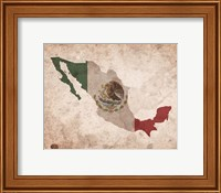 Framed Map with Flag Overlay Mexico