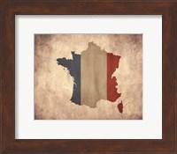 Framed Map with Flag Overlay France