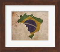 Framed Map with Flag Overlay Brazil