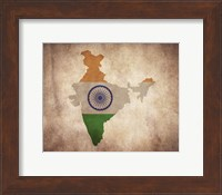 Framed Map with Flag Overlay India