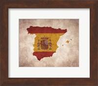 Framed Map with Flag Overlay Spain