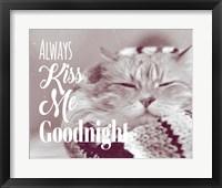 Framed Always Kiss Me Goodnight Sleepy Cat