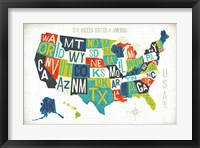 Framed Letterpress USA Map