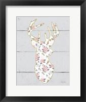 Framed Floral Deer I