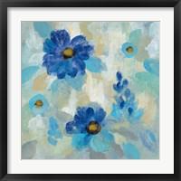 Framed Blue Flowers Whisper II