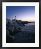 Framed Peggys Cove Lighthouse at Night, Nova Scotia, Canada
