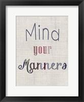 Manners IV Framed Print