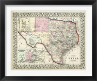 Framed Johnson's Map of Texas