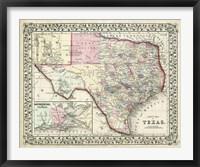 Framed Johnson's Map of Texas