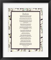 Framed Desiderata Leaf Pattern Frame Light