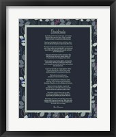 Framed Desiderata Leaf Pattern Frame Dark