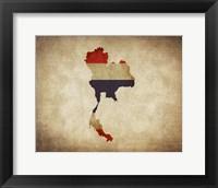 Framed Map with Flag Overlay Thailand