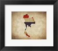 Framed Map with Flag Overlay Thailand