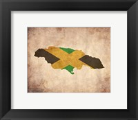 Framed Map with Flag Overlay Jamaica