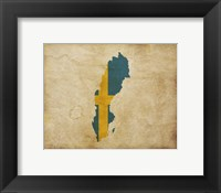 Framed Map with Flag Overlay Sweden