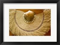Framed Fiji, Lautoka, Woven grass and shell fan, craft