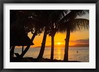Framed Sunset through Palms, Taveuni, Vanua Levu in Background, Fiji