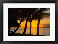 Framed Sunset through Palms, Taveuni, Vanua Levu in Background, Fiji