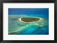 Framed Tavarua Island and coral reef, Mamanuca Islands, Fiji