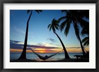 Framed Hammock and sunset, Plantation Island Resort, Malolo Lailai Island, Mamanuca Islands, Fiji