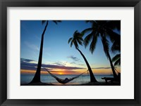 Framed Hammock and sunset, Plantation Island Resort, Malolo Lailai Island, Mamanuca Islands, Fiji