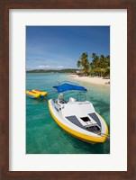 Framed Powerboat and banana boat, Plantation Island Resort, Malolo Lailai Island, Mamanuca Islands, Fiji